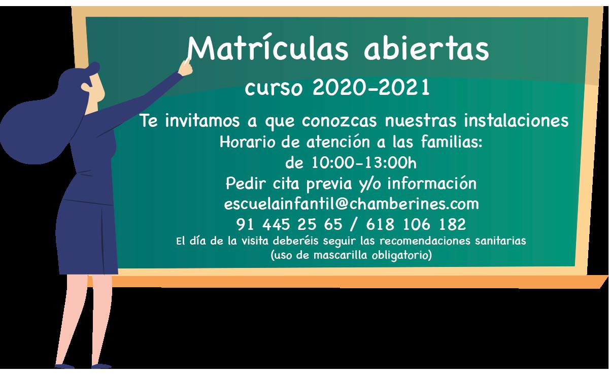 Matriculas abiertas curso 2020 2021 Escuela infantil Chamberines